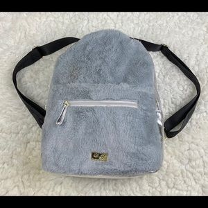 Betsey Johnson furry Backpack with hoodie